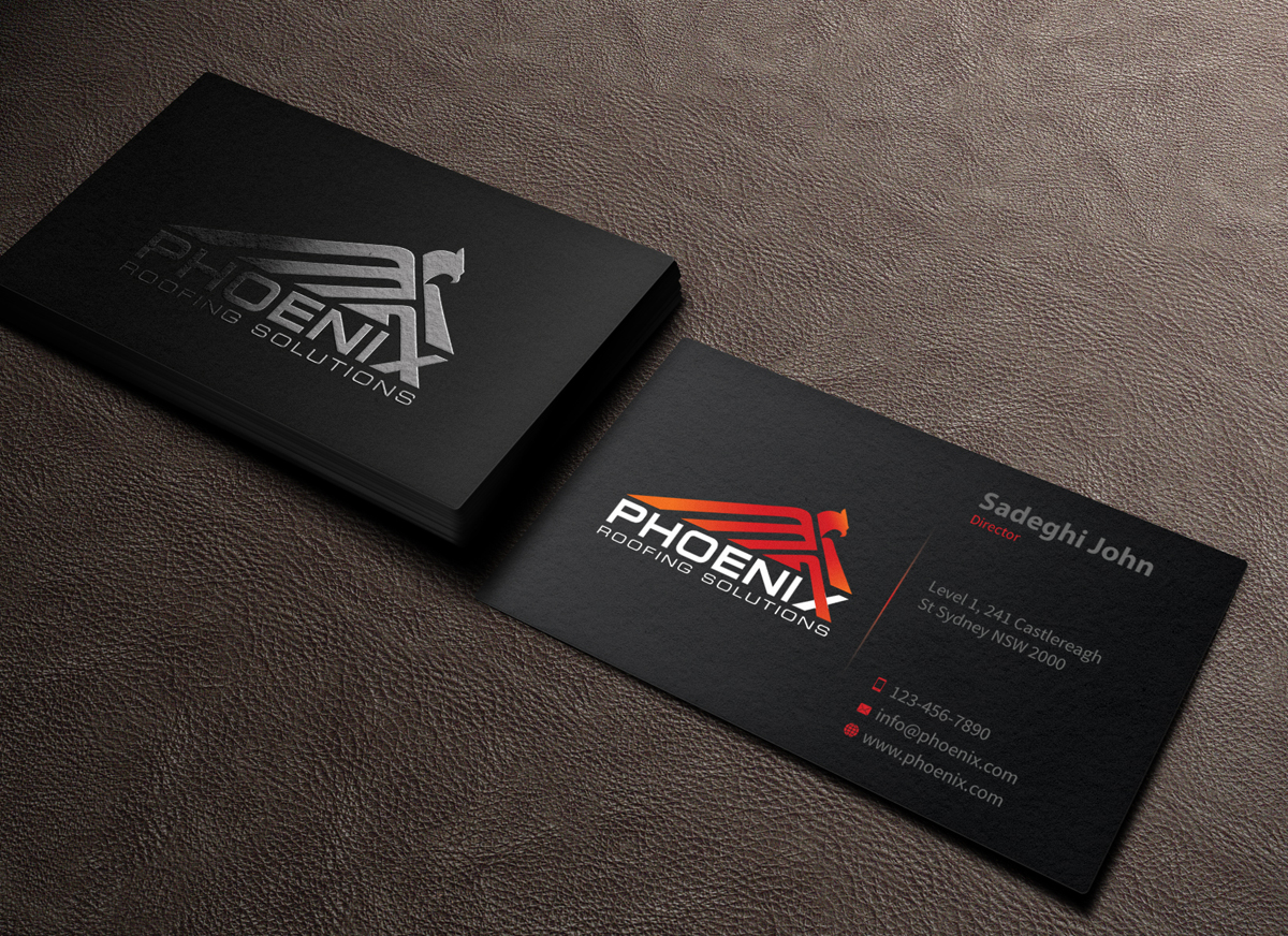 86 modern business card designs roofing business card design business card design by mediaproductionart for phoenix roofing solutions design 3642380 reheart Choice Image