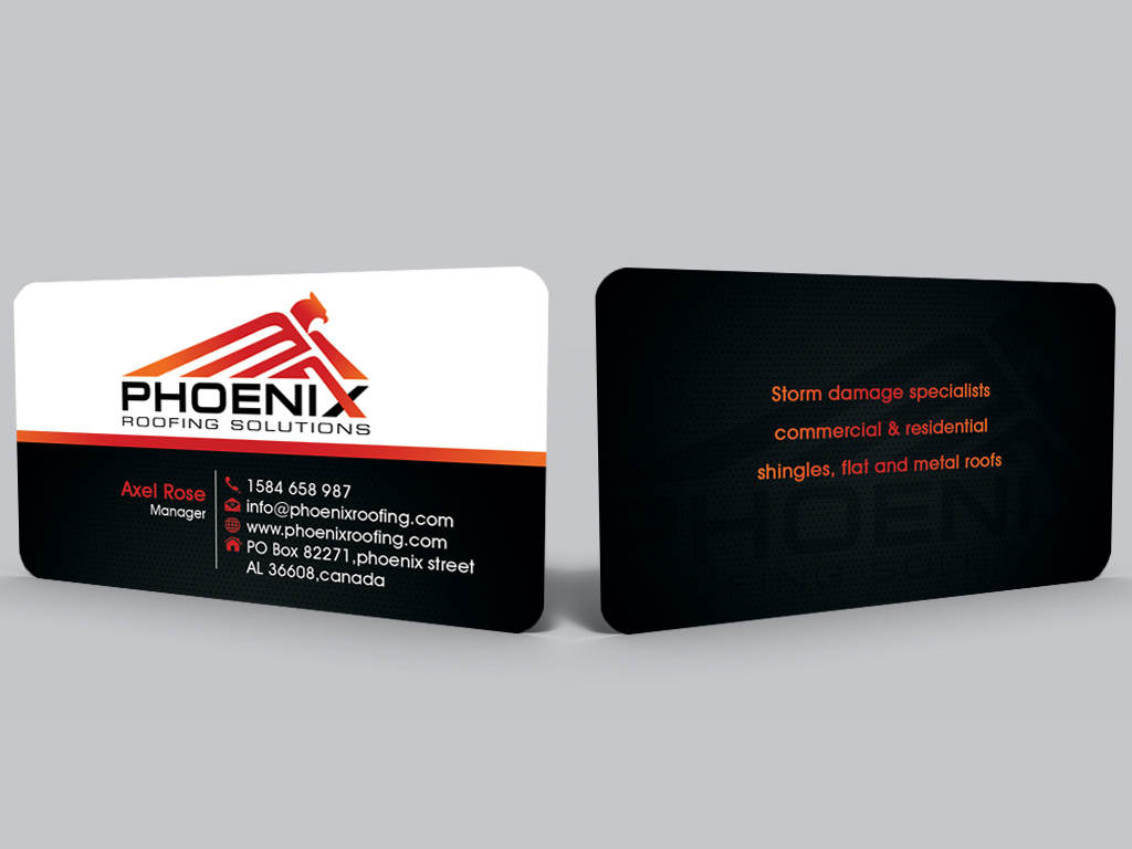 Modern, Professional Business Card Design for Phoenix Roofing ...