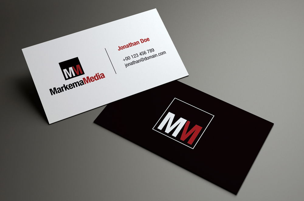 elegant playful business card design for markema media by
