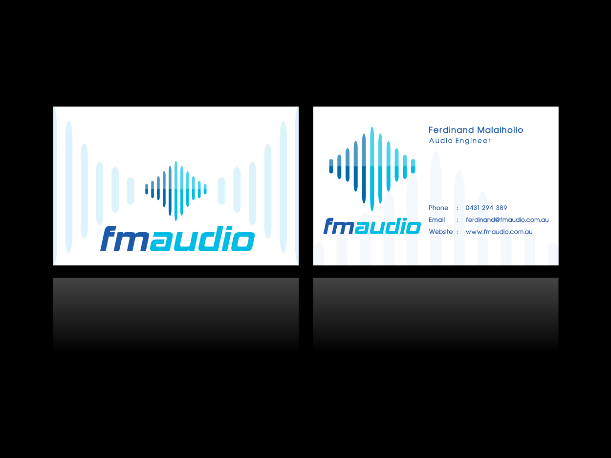 Modern bold business card design for fm audio by sangrafik business card design by sangrafik for entertainment sound and lighting company business card design magicingreecefo Images