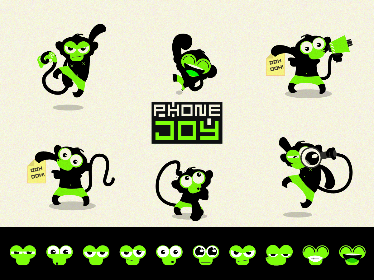 Character Design Hong Kong : Playful bold character design for phonejoy solutions