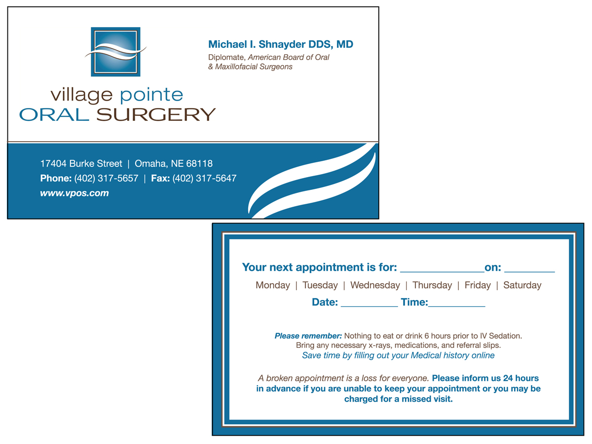 business card design for village pointe oral surgery by lilly