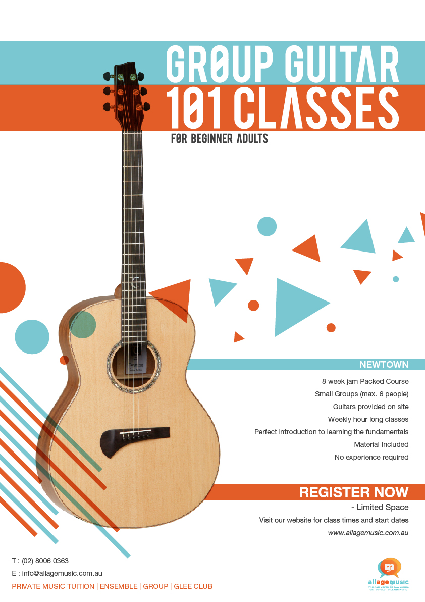 Poster design music - Poster Design By Rizkankutu For Poster Design To Promote Adult Group Guitar Classes For Music School