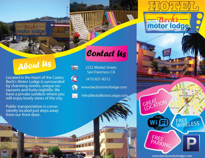 Masculine colorful brochure design for becks motor lodge for Design companies in san francisco