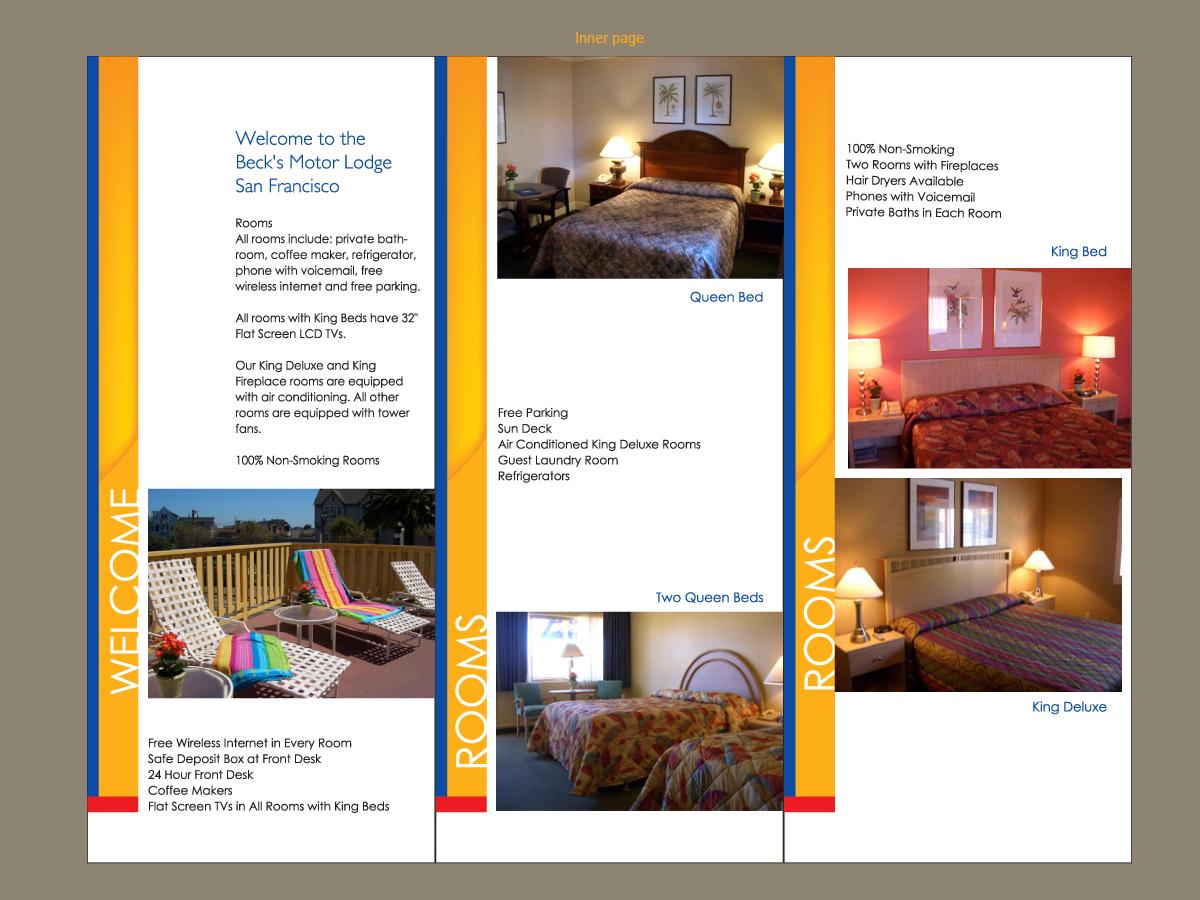 Masculine colorful brochure design for becks motor lodge for Hotel brochure design