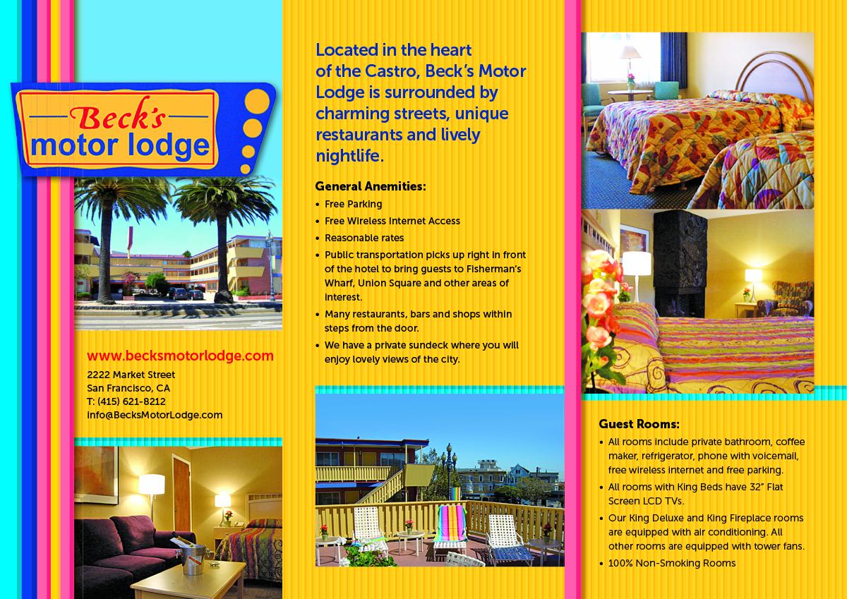 Masculine Colorful Brochure Design For Becks Motor Lodge