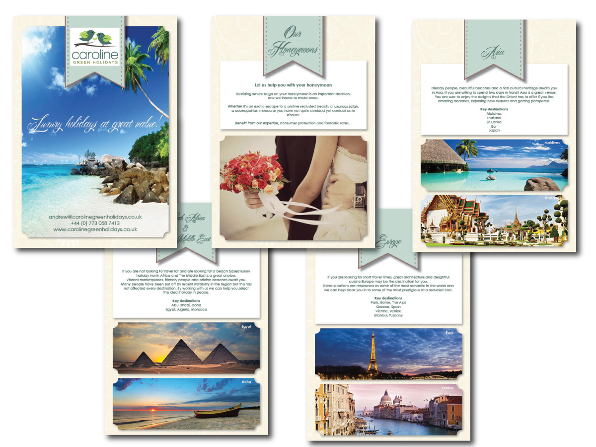 Brochure Design By GraphiCat Studio For Caroline Green Holidays Ltd