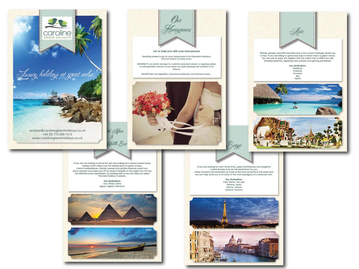 Brochure Design By GraphiCat Studio For Caroline Green Holidays Ltd