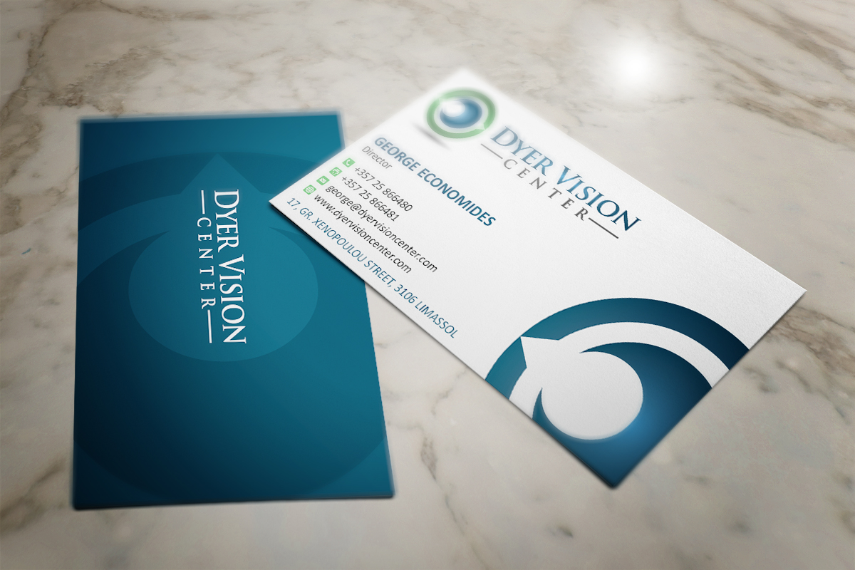 Business card design for dyer vision center by mt design for Doctors business cards