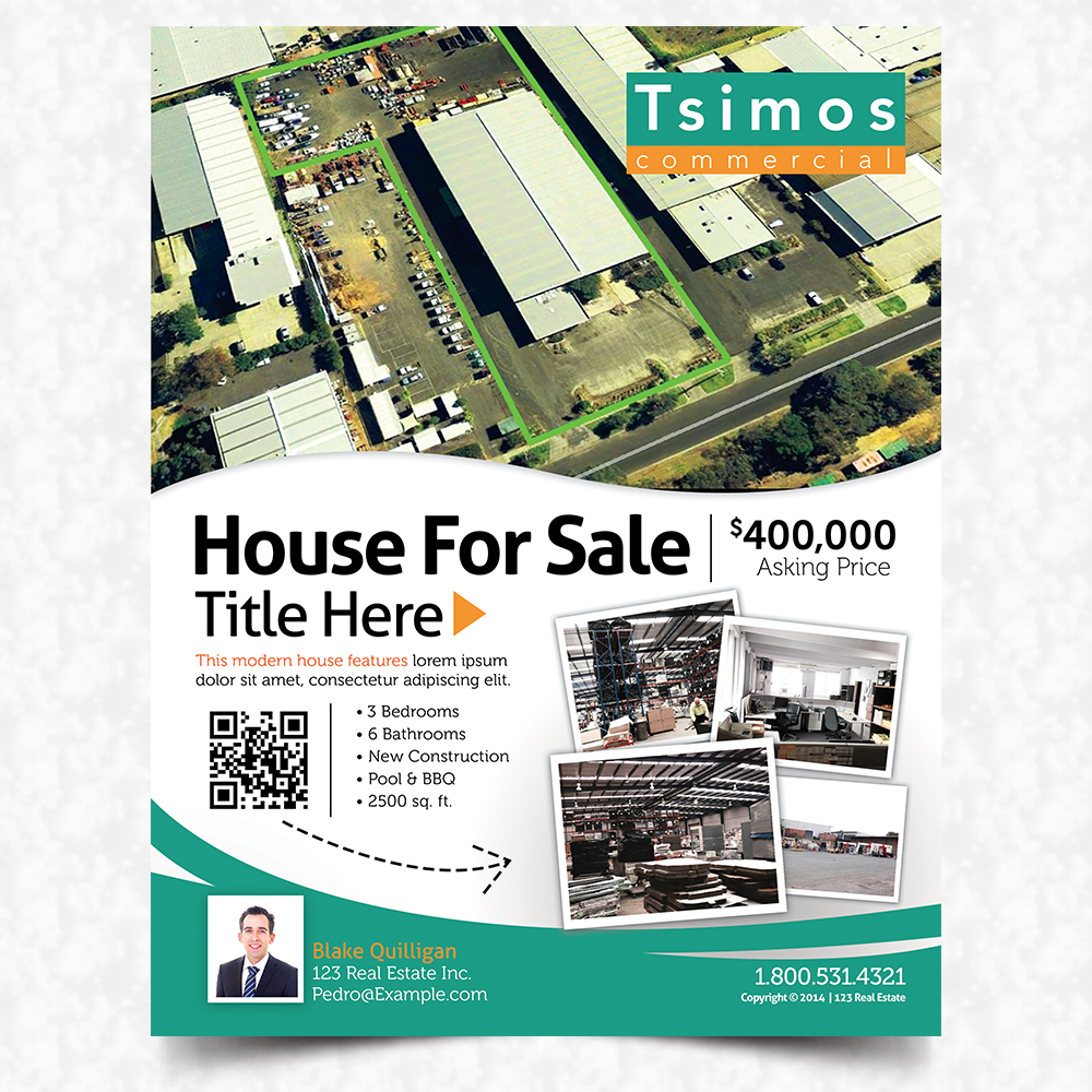 modern professional flyer design for tsimos commercial by flyer design by mediaproductionart for real estate property flyer 1 sided a4 flyer