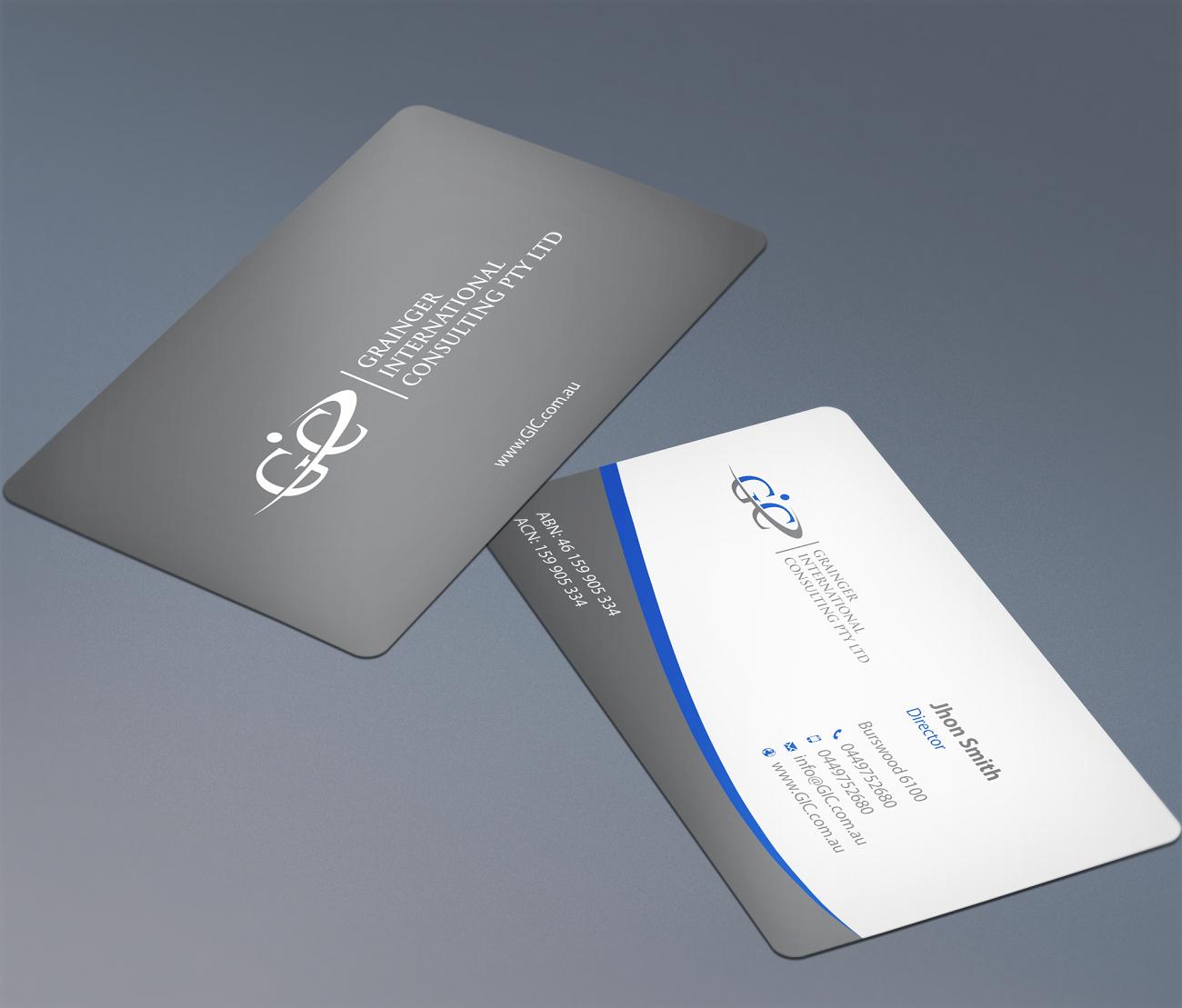 Business business card design for grainger international for Decor 18 international pty ltd