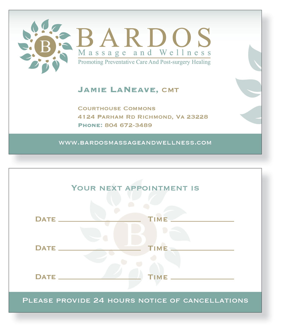 Business Card Design for Bardos Massage and Wellness by Patrick Tero ...