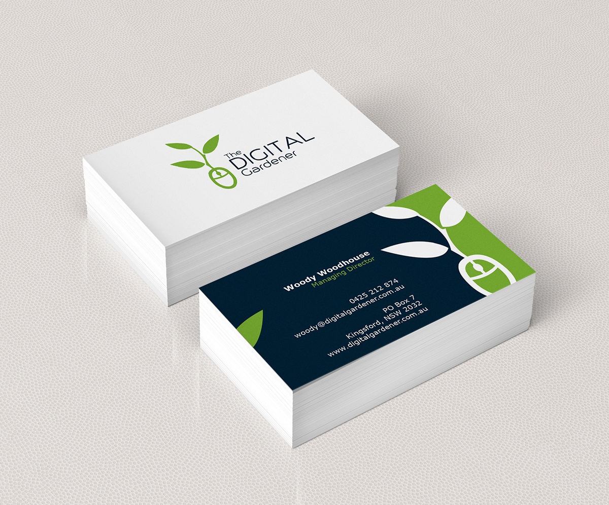 Bold modern business card design for the digital gardener for Gardening business cards