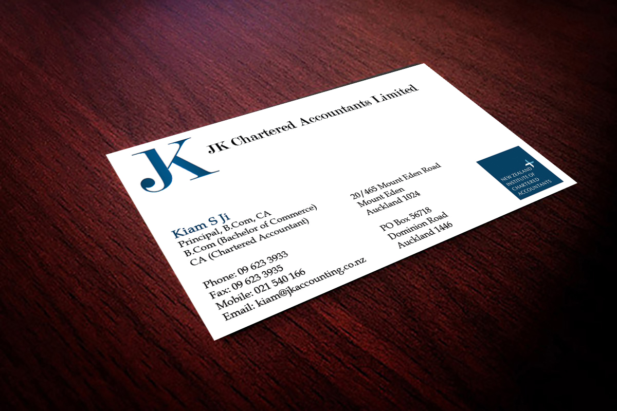 business card design for jk chartered accountants by hardcore