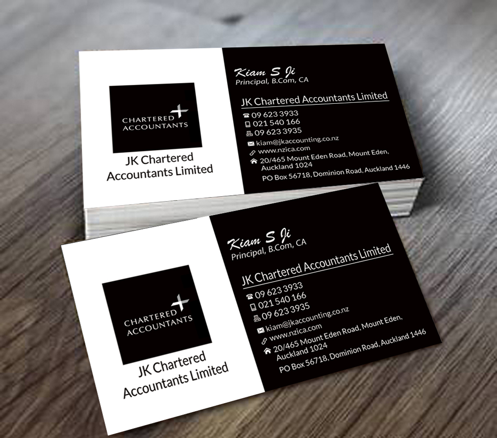 business card design for jk chartered accountants by debabrata