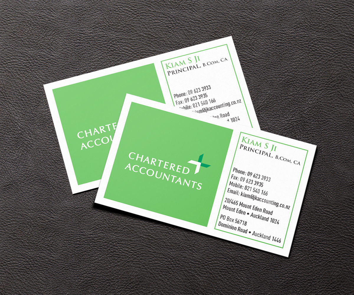 Business Card Design for JK chartered Accountants by karthik ...