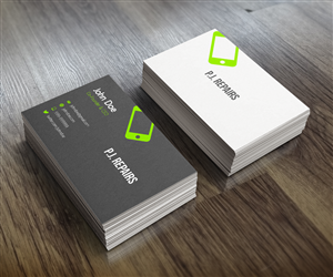 Business card design design for inflatablez a company in for Cell phone repair business cards