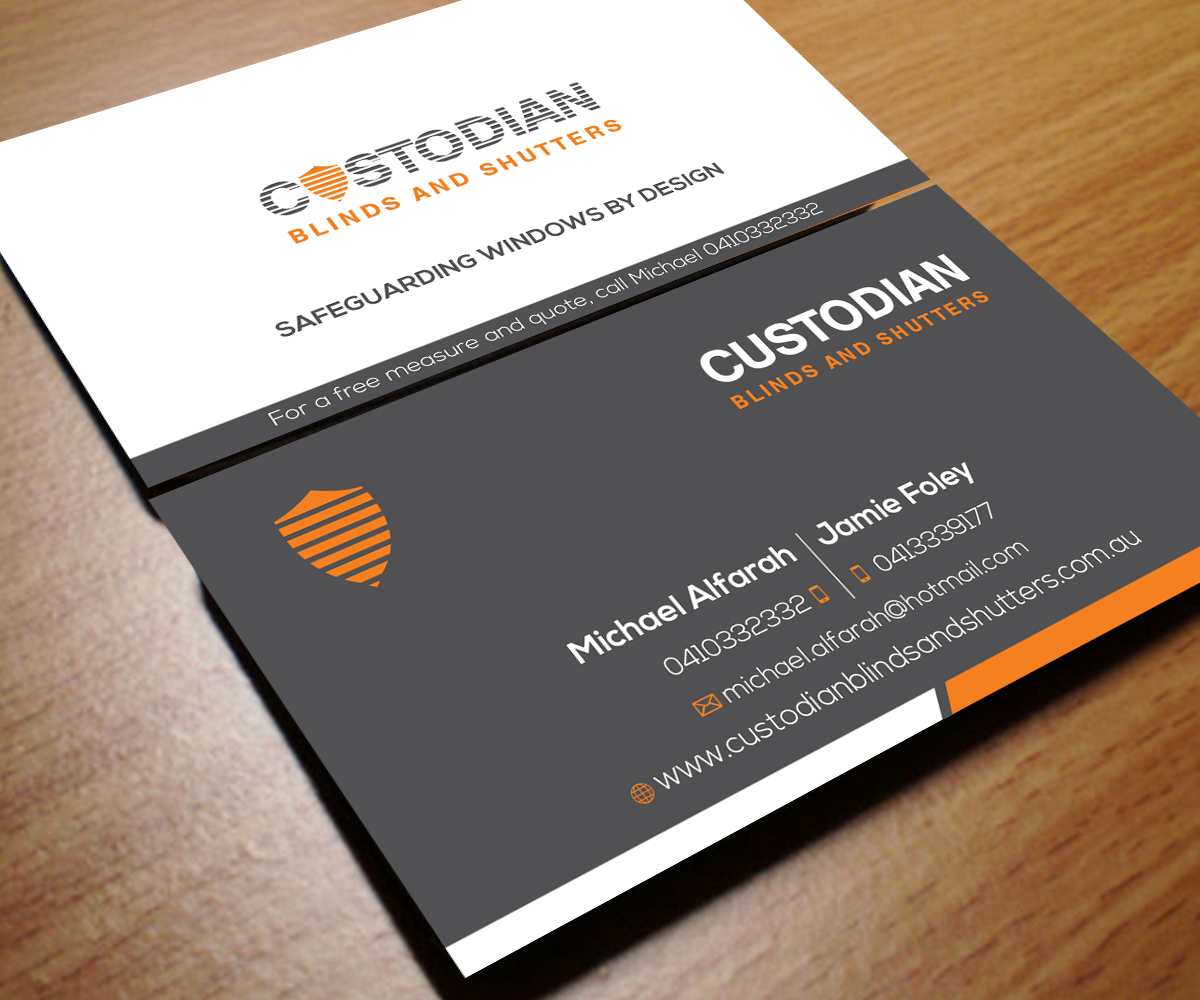 Serious modern business card design for custodian blinds and business card design by aaron for window blinds and shutters business card design magicingreecefo Gallery