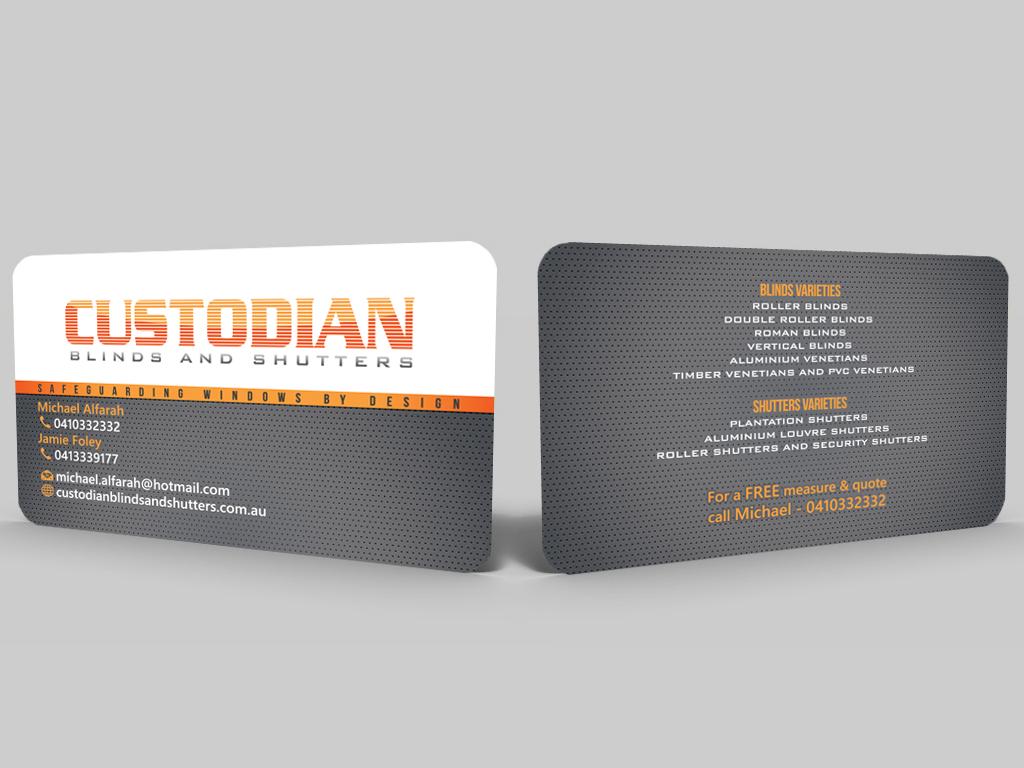 Serious Modern Security Business Card Design For Custodian