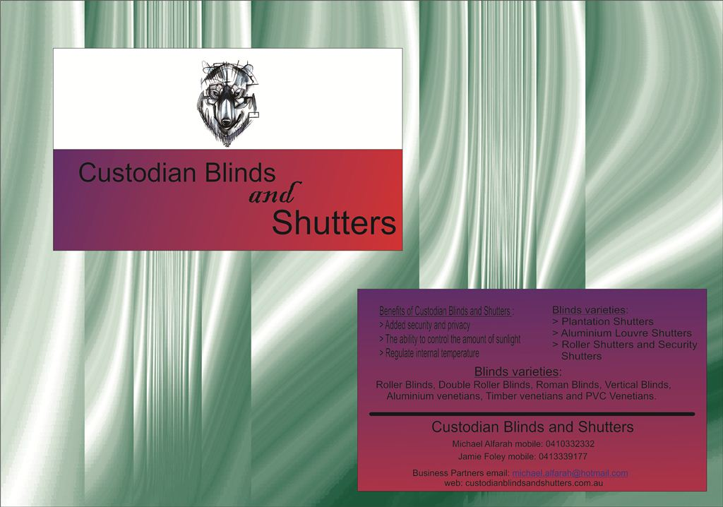 Serious modern security business card design for custodian blinds business card design by tomy93 for custodian blinds and shutters design 3800730 colourmoves