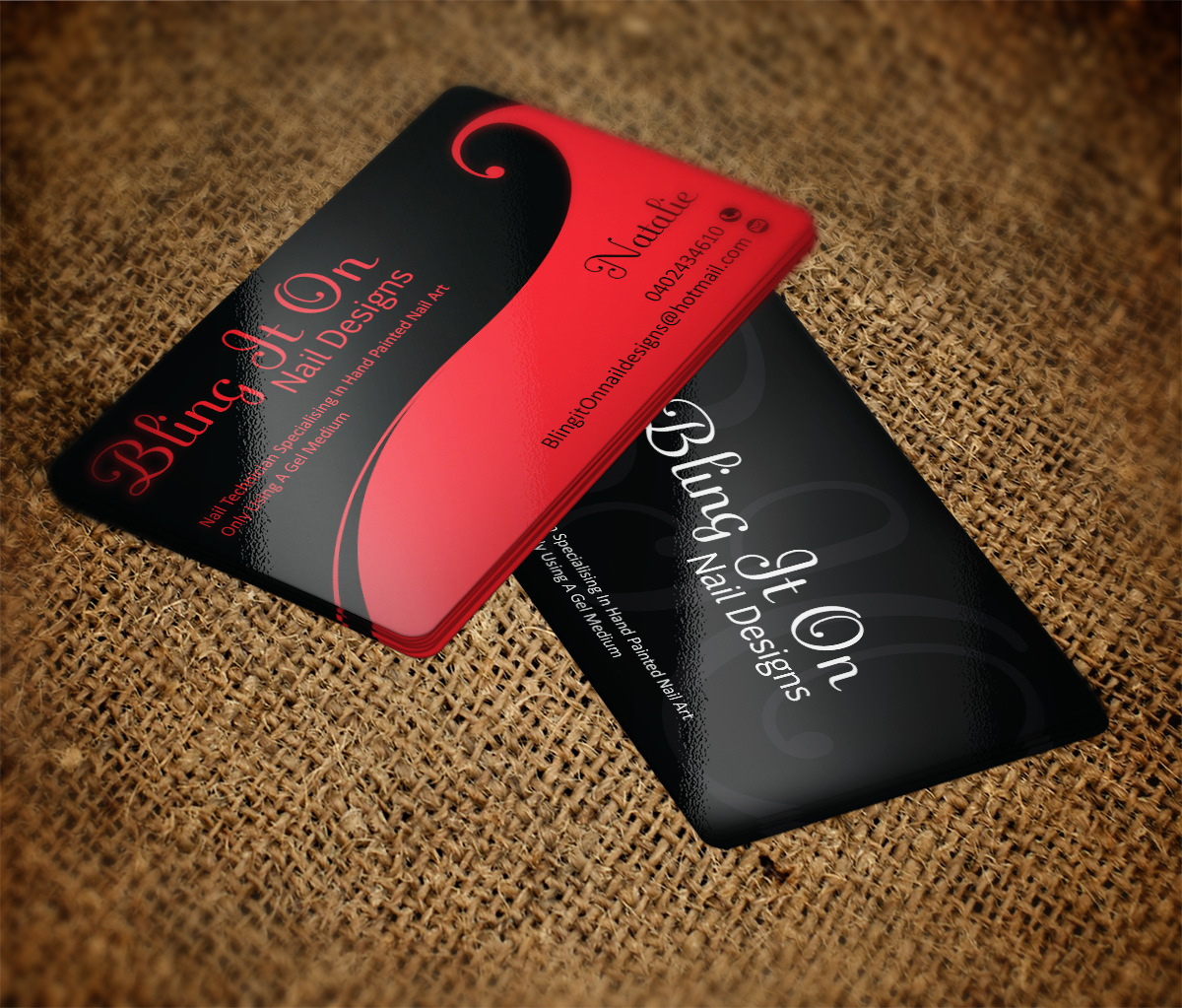Paint Business Card Design for Bling it On nail designs by MT ...