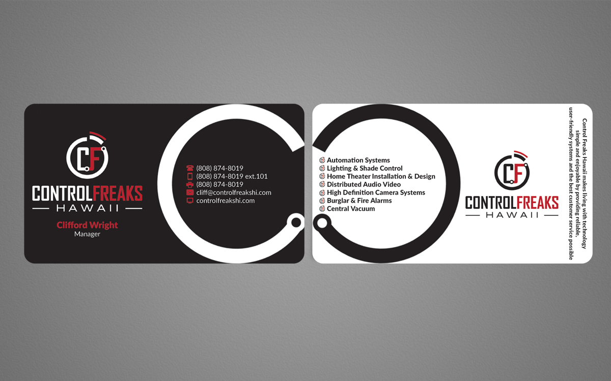Upmarket playful security business card design for control freaks business card design by nuhanenterprise for control freaks hawaii design 4027043 reheart Gallery