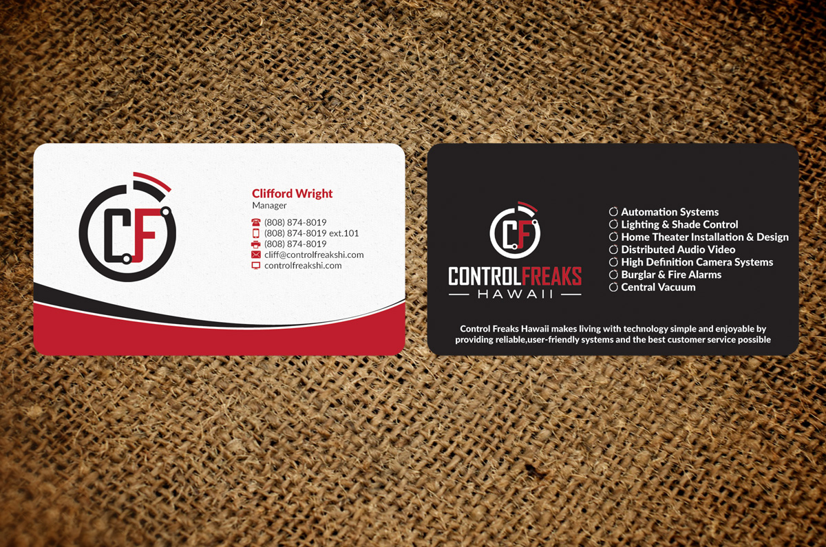 Upmarket playful security business card design for control freaks business card design by nuhanenterprise for control freaks hawaii design 4027484 reheart Gallery