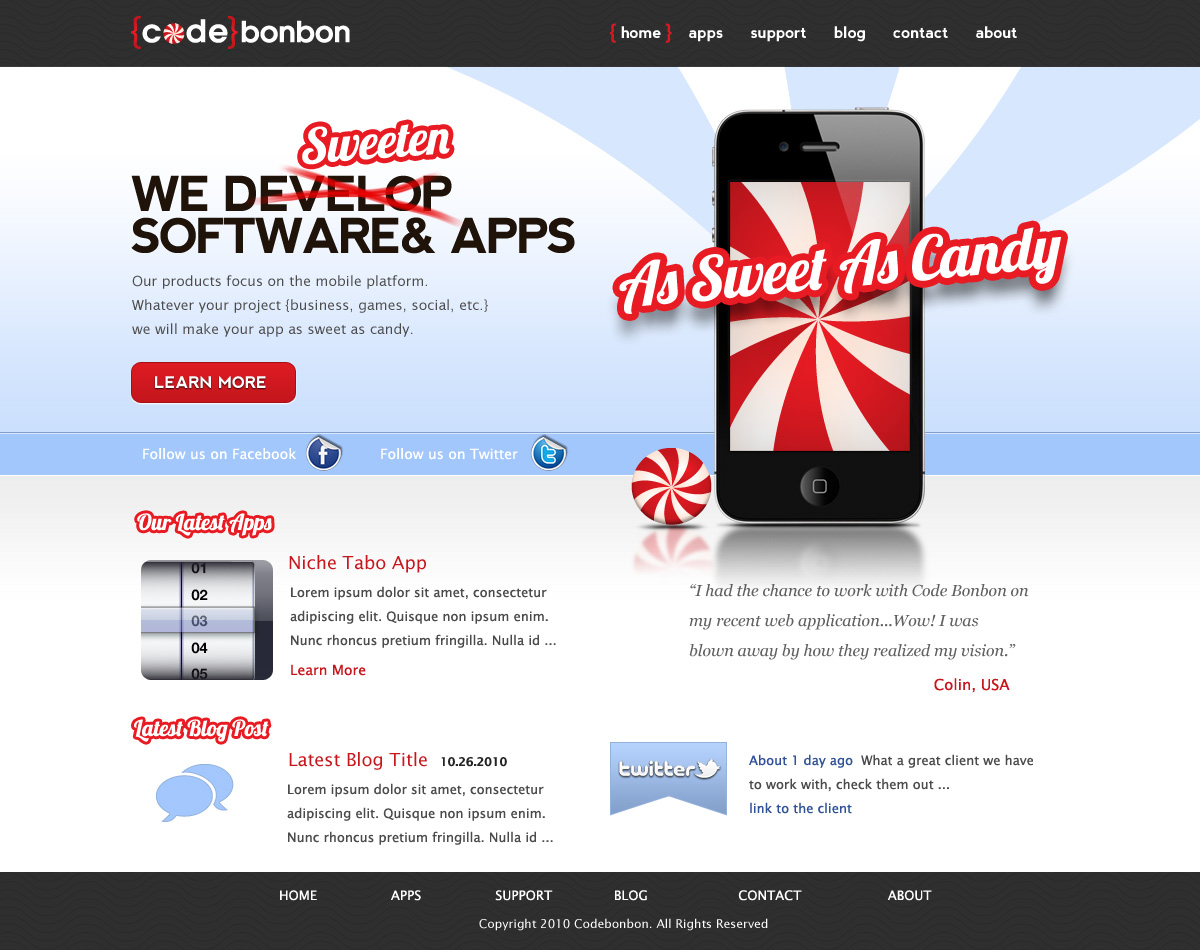 web design by fielding ideas for codebonbon inc website iphone apps landing pages - Web Design Ideas