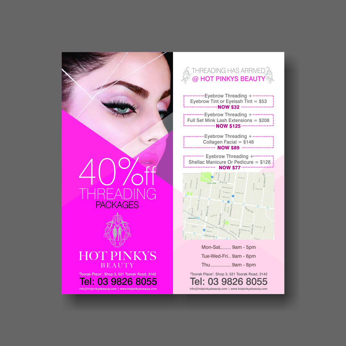 "Eyebrow Threading Flyer Design""  17 Flyer Designs for Hot Pinkys"