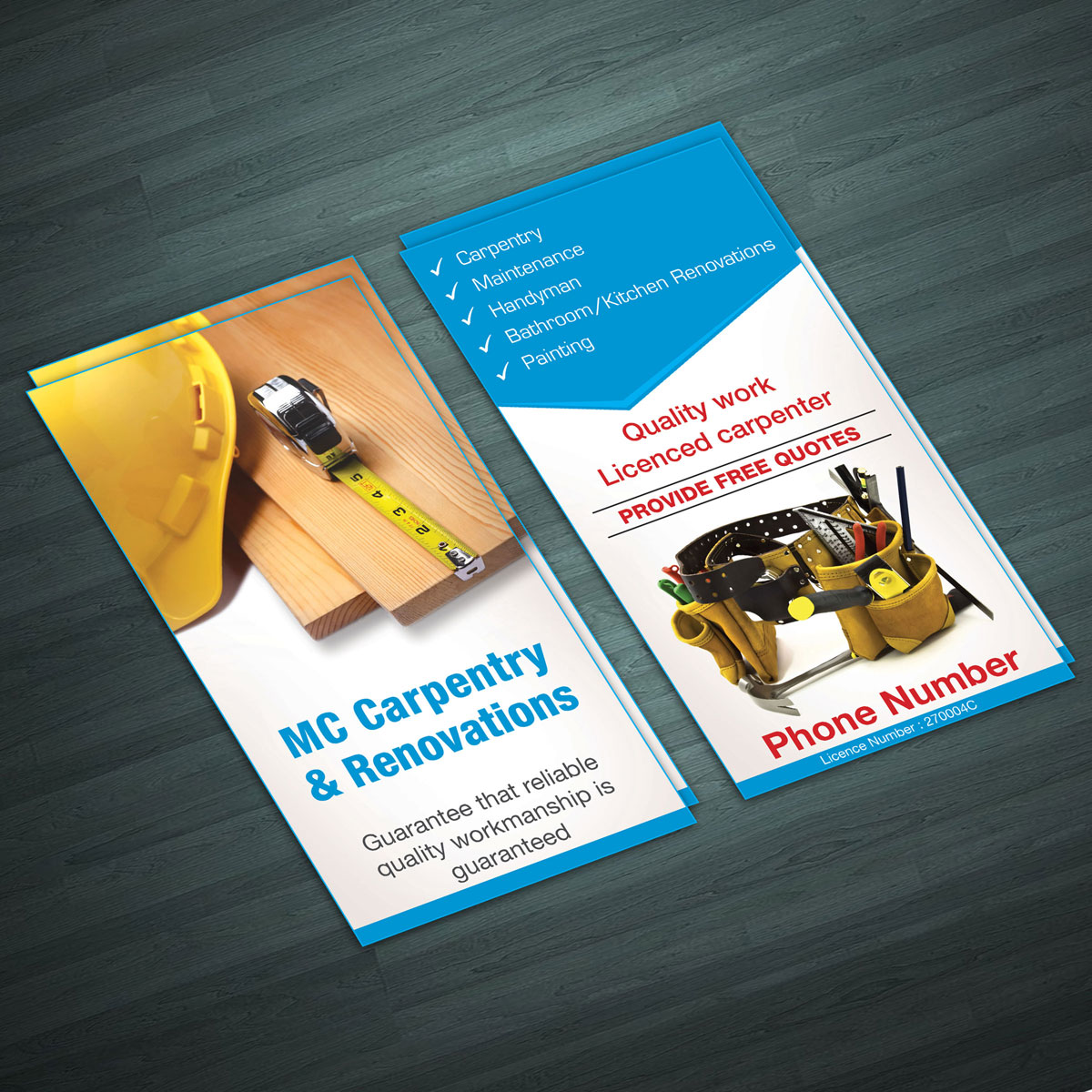 professional modern advertising flyer design for mc carpentry