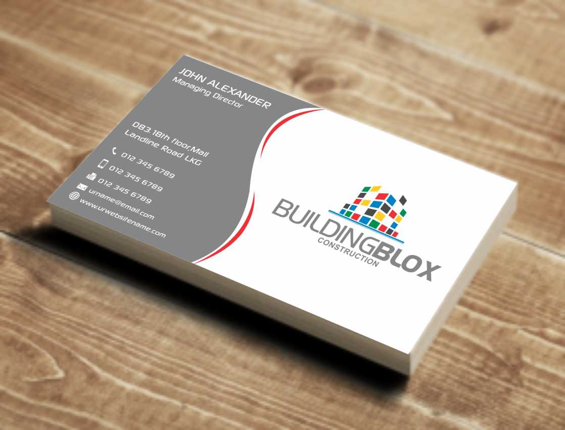 conservative playful business card design for building blox by