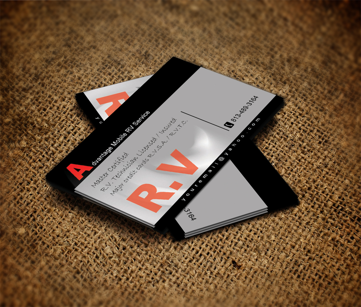 Insurance business card design for advantage mobile rv service by business card design by ma for advantage mobile rv service design 3854769 colourmoves