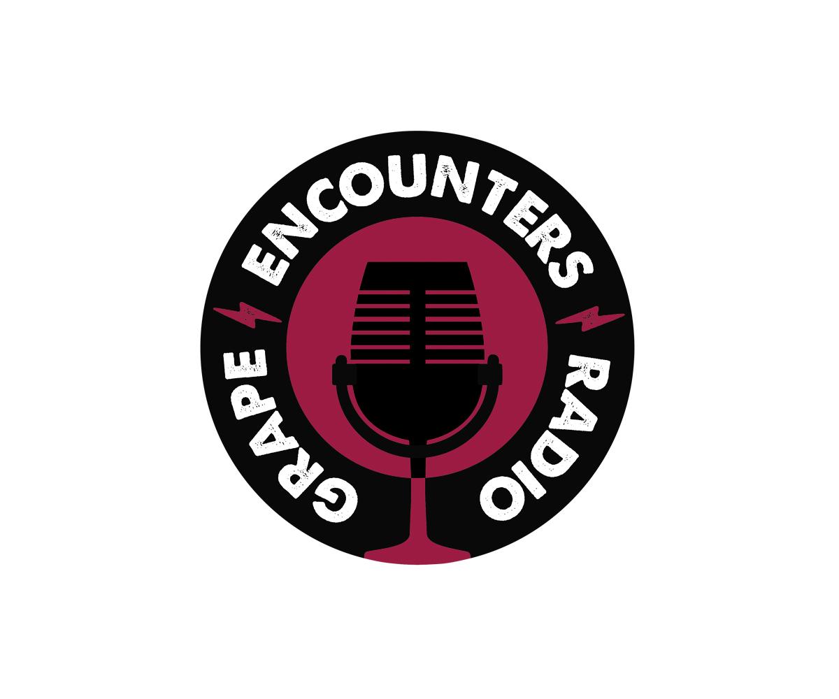 modern playful radio logo design for grape encounters