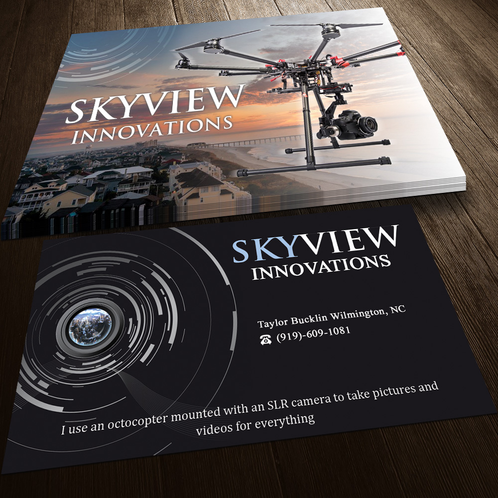 Modern, Serious, Camera Business Card Design for SkyView Innovations ...