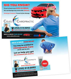 Postcard Design by creationz2011 - Personal Injury Mailer for a Chiropractic Office