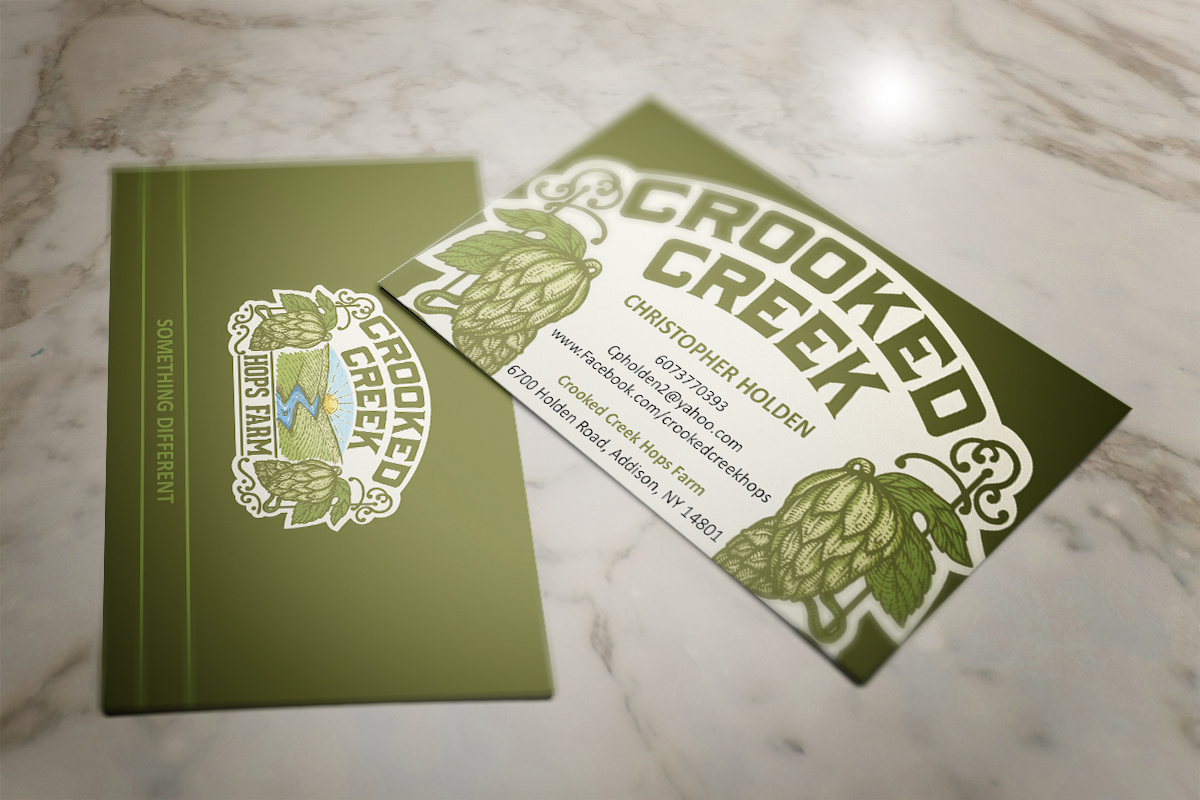 Business card design for crooked creek hops farm by mt design business card design by mt for crooked creek hops farm design 3907315 magicingreecefo Choice Image
