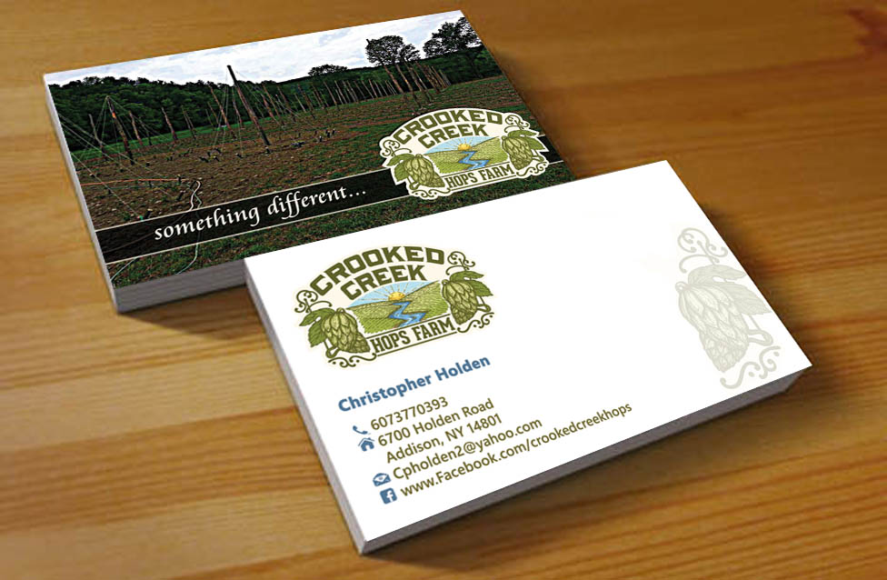 Business Card Design for Crooked Creek Hops Farm by Hardcore Design ...