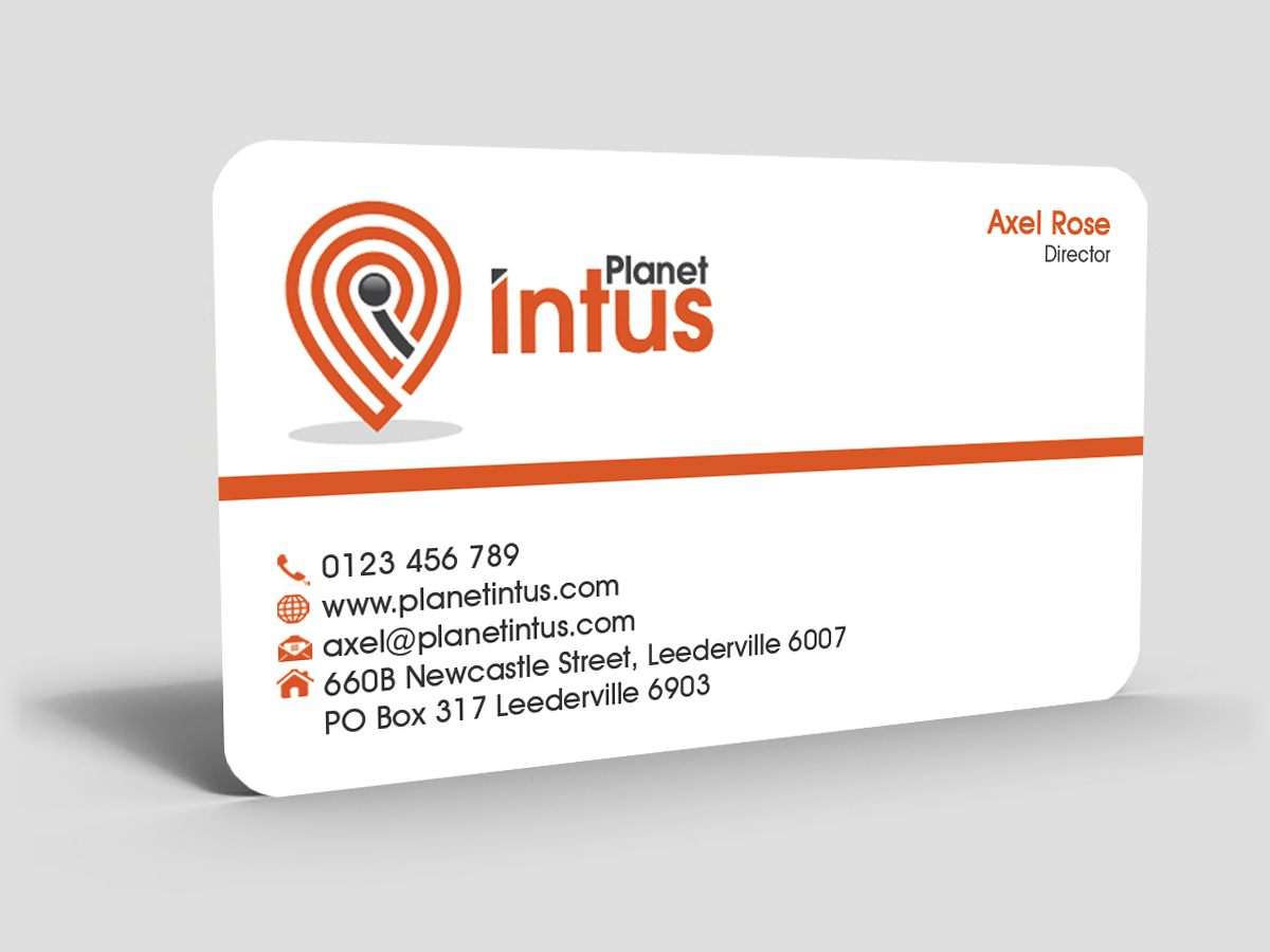 business card design for planet intus by hardcore design design