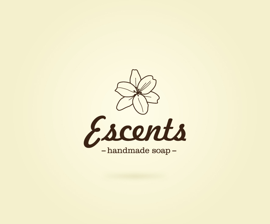 feminine, elegant, it company logo design for escents handmade soap