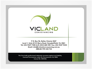 Business Card Design job – VICLAND CONVEYANCING – Winning design by munte munte