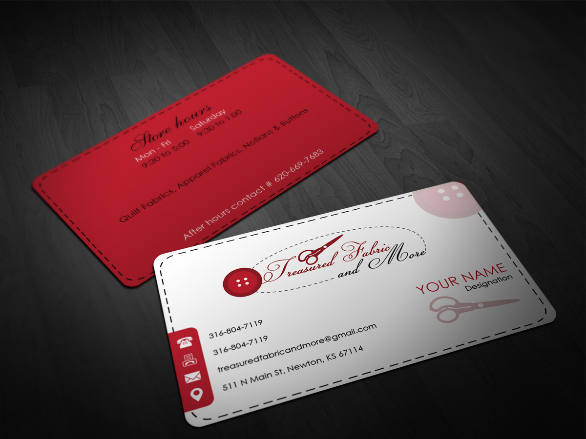 Feminine elegant store business card design for treasured fabric business card design by pointless pixels india for treasured fabric and more design 3933829 colourmoves