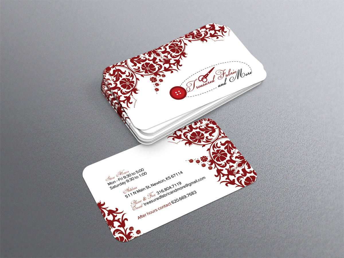 Feminine, Elegant, Store Business Card Design for Treasured Fabric ...