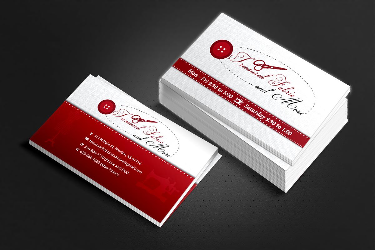 Feminine elegant store business card design for treasured fabric business card design by justme for treasured fabric and more design 3933136 colourmoves