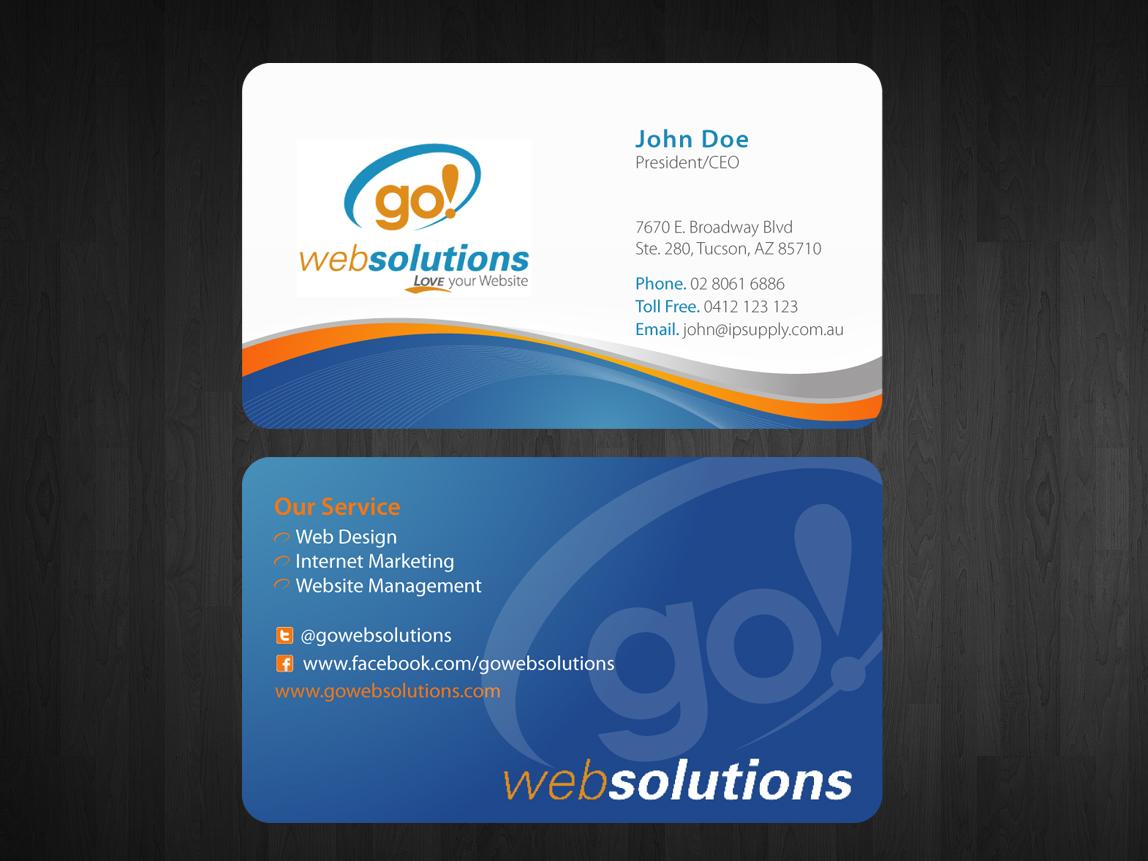 Elegant playful internet business card design for go web solutions business card design by nila for go web solutions design 1054303 colourmoves