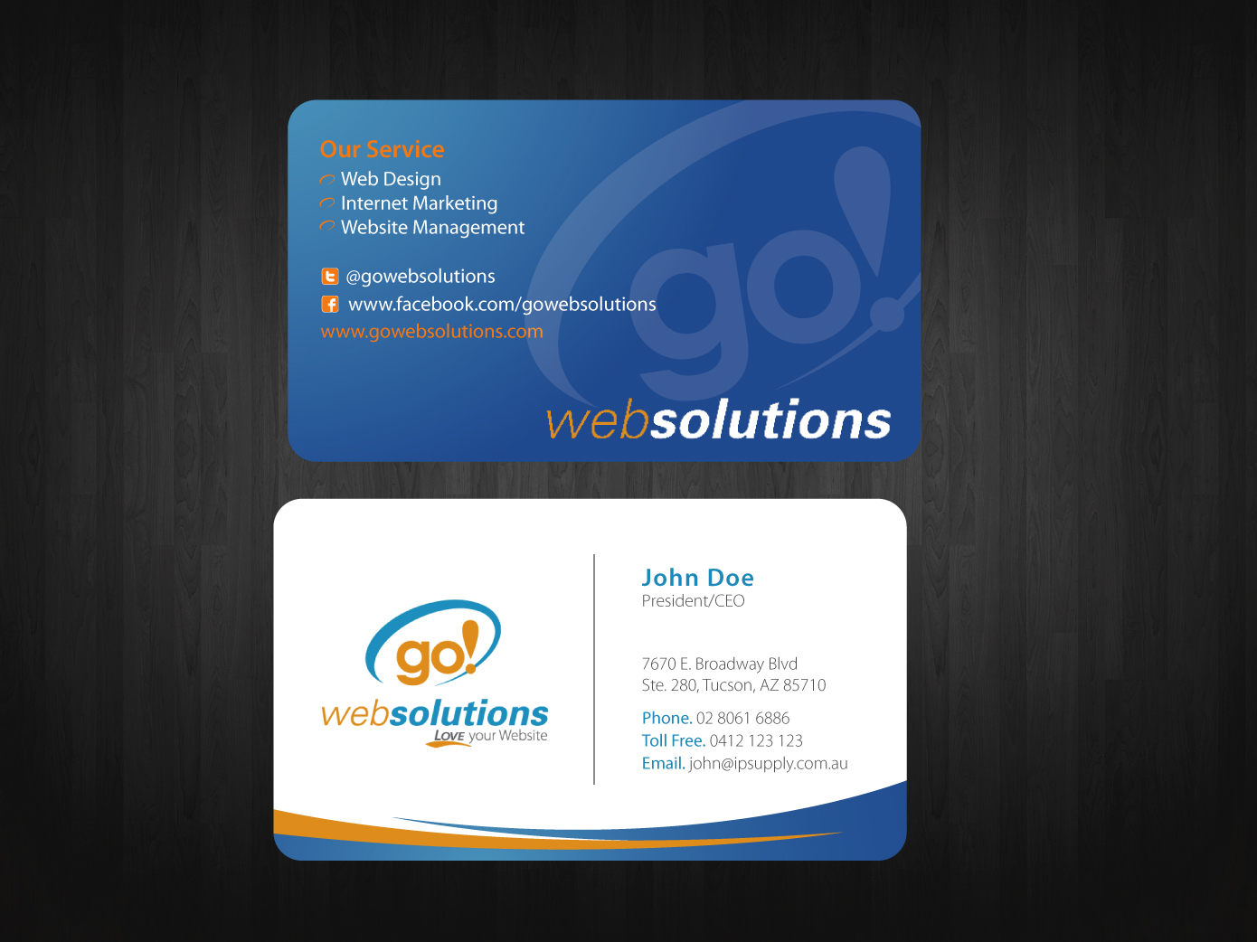 Elegant, Playful Business Card Design for Go Web Solutions by Nila ...