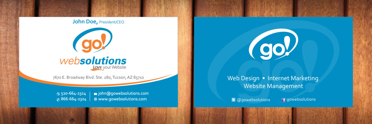 Elegant, Playful Business Card Design for Go Web Solutions by Sbss ...