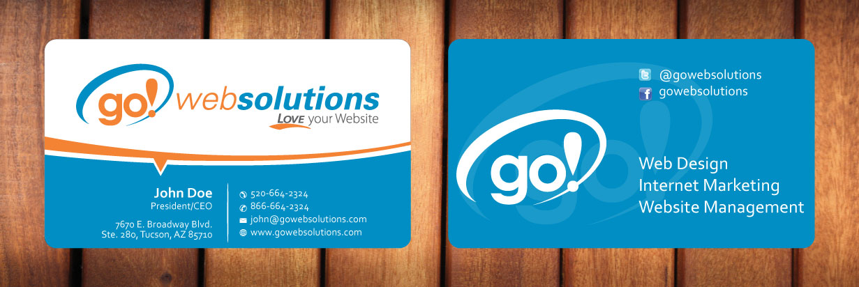 Elegant playful business card design for go web solutions by sbss business card design by sbss for new business card for web designinternet marketing company reheart Images