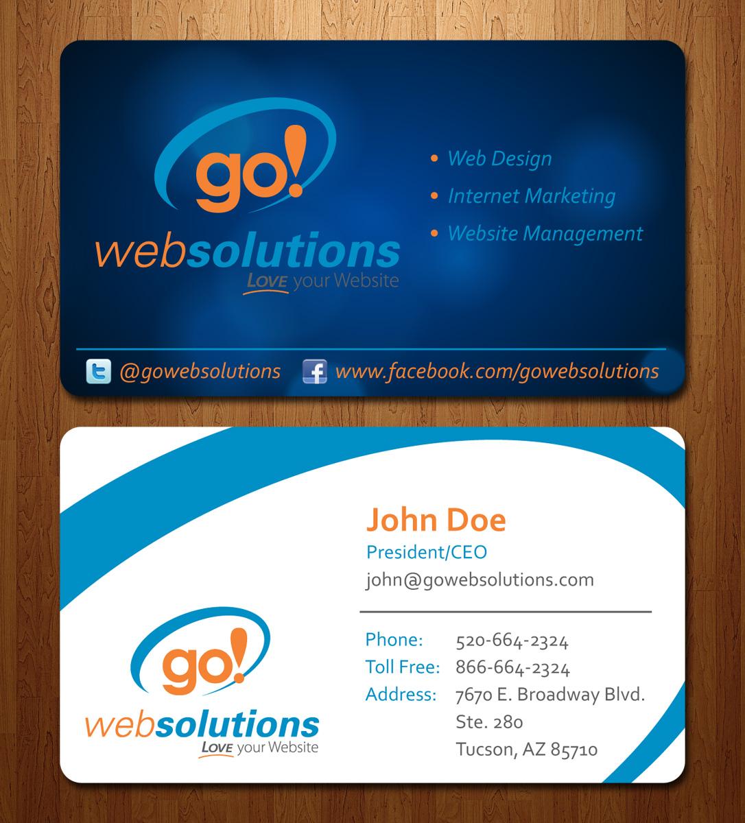 Elegant, Playful, Internet Business Card Design for Go Web Solutions ...