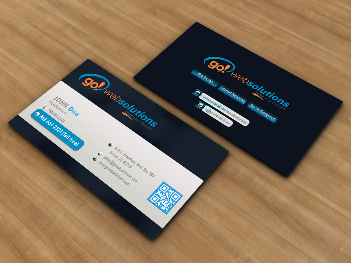 Elegant playful business card design for go web solutions by business card design by design99 for new business card for web designinternet marketing company reheart Images