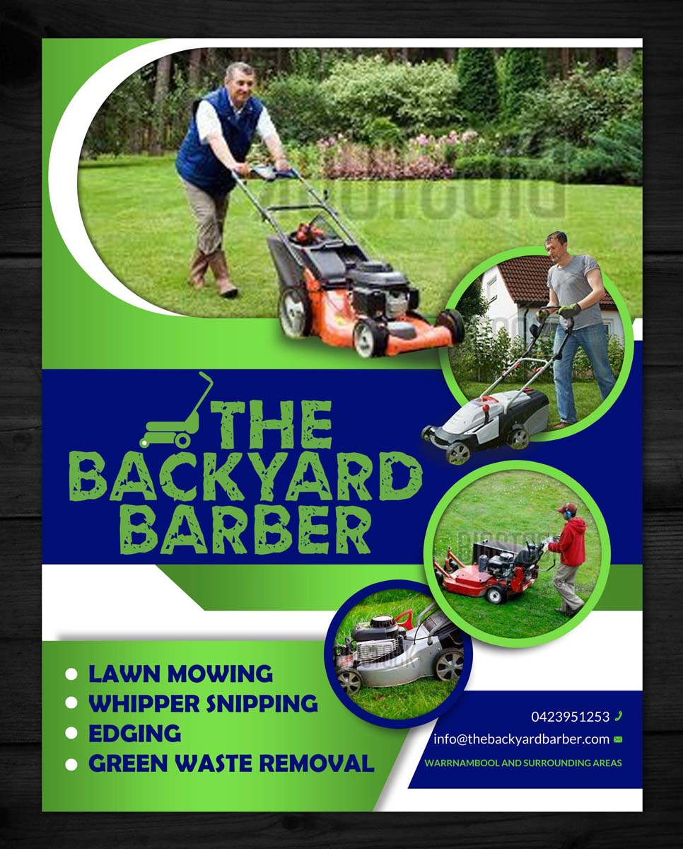 bold modern flyer design for the backyard barber by esolz